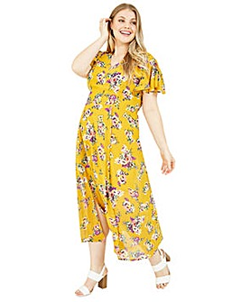 Yumi Curves Floral Wrap Maxi Dress in Yellow