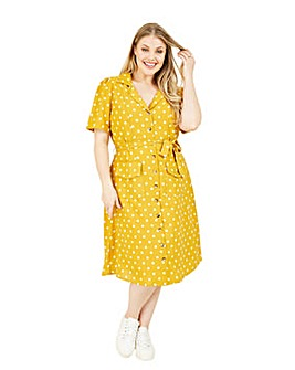 Yumi Curves Mustard Polka Dot Shirt Dress