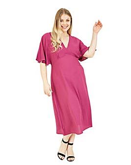 Yumi Curves Pink Flared Kimono Midi Dress