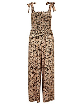 Monsoon ANIMAL PRINT SHIRRED JUMPSUIT