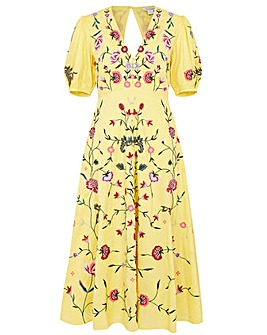 Monsoon Delia Yellow Tea Dress