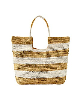 Monsoon SEEMA STRIPE STRAW SHOPPER BAG