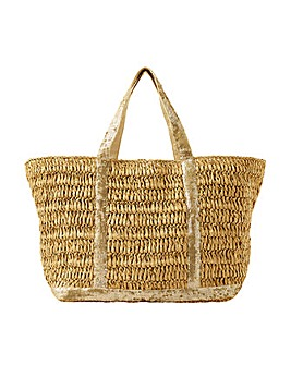 Monsoon SABLE SEQUIN STRAW SHOPPER BAG