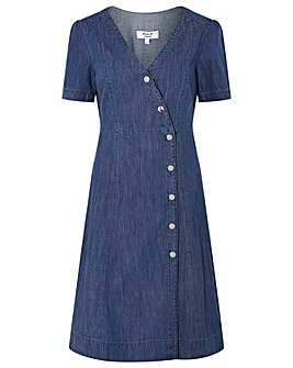 Monsoon Wrap V Neck Midi Denim Dress