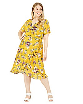 Yumi Curves Floral Frill Dress In Yellow