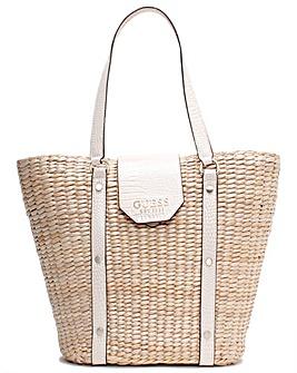 Guess Palona Moc Croc Straw Tote Bag