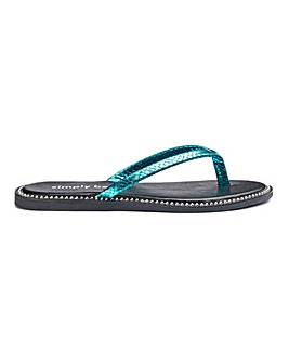 Zenda Studded Sole Flip Flop Ex Wide Fit