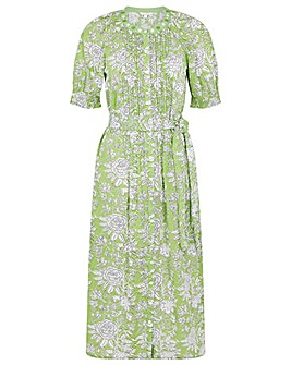 Monsoon ARTISAN GREEN WOODBLOCK DRESS