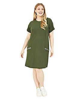 Mela London Curve Zip Pocket Tunic Dress In Khaki