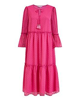 Yumi Curves Dobby Spot Smock Midi Dress In Pink