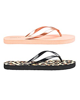 Emily Animal Two Pack Flip Flops Wide