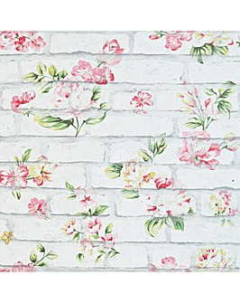 Shabby Chic Brick Pink & White Wallpaper