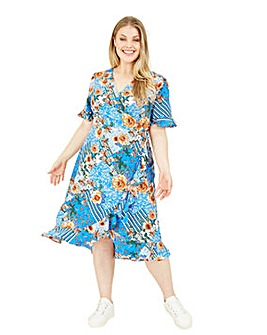 Yumi Curves Patchwork Fluted Floral Wrap Dress In Blue
