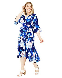 Yumi Curves Watercolour Floral Midi Wrap Dress In Blue
