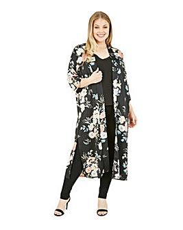 Yumi Curves Floral Print Kimono in Black