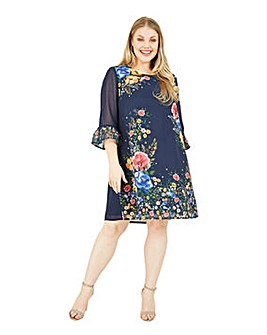Yumi Curves Floral Tunic Dress In Navy