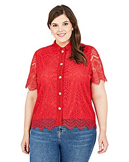 Yumi Curves Red Lace Shirt