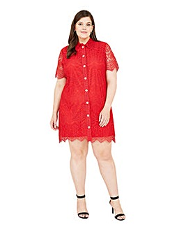 Yumi Curves Lace Button Shirt Dress