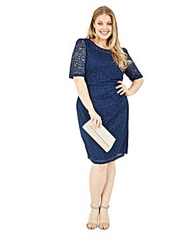 Yumi Curves Navy Lace Bodycon Dress