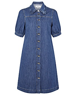 Monsoon RUFFLE COLLAR SHORT DENIM DRESS