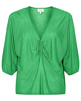 Monsoon LINEN RUCHED FRONT JUMPER