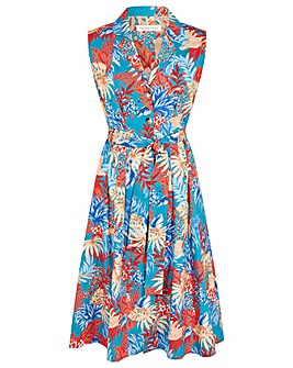 Monsoon FLORAL POPLIN MIDI DRESS