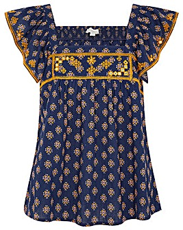 Monsoon EMBROIDERED GEO PRINT TOP