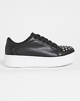 Studded Toe Cap Trainers Wide Fit