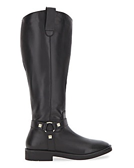 Rylee Leather High Knee Boots Wide Curvy