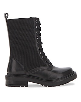 Norah Calf Height Knitted Lace Up Boots ExWide