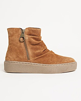 Suede Flatform Ankle Boots Wide Fit