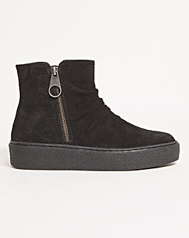 Piper Suede Flatform Ankle Boots Ex Wide Fit
