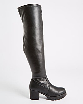 Adalynn Chunky Heel Stretch Boots Wide Fit Standard Calf