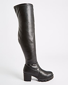 Adalynn Chunky Heel Stretch Boots Extra Wide Fit Standard Calf