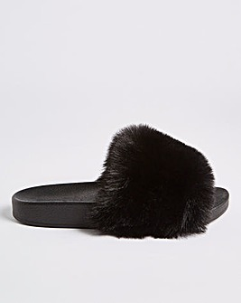 Meltham Faux Fur Slipper Sliders Extra Wide Fit
