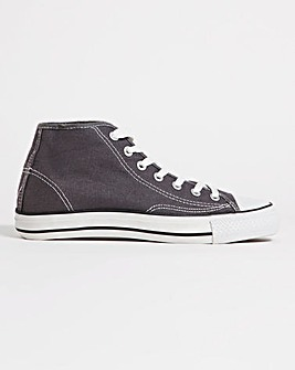 Lillian Canvas Hi Top Lace Up Trainers Wide Fit