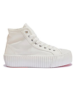 Hi Top Chunky Lace Up Canvas Trainer