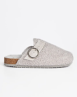 Dylan Fluffy Footbed Clog Slippers Wide Fit