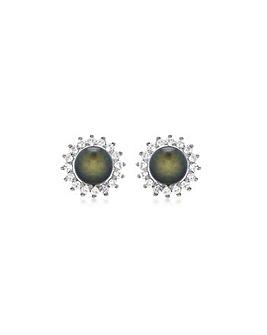 9Ct Gold Diamond Grey Pearl Studs