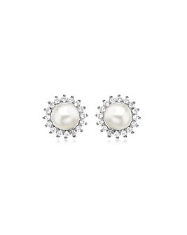 9Ct Gold Diamond And Pearl Studs