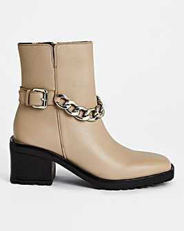 Pheonix Chain Heeled Ankle Boots Ex Wide Fit