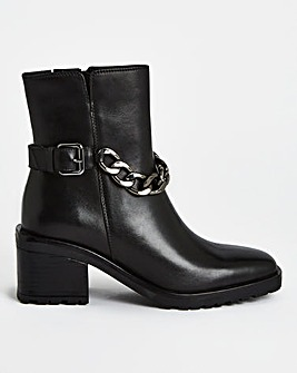 Pheonix Chain Heeled Ankle Boots Wide Fit