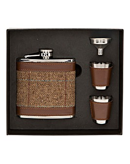 Tweed Hip Flask and Cup Set