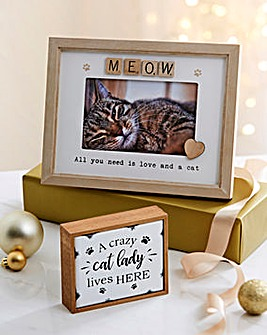 Enamel Cat Plaque and Frame Set