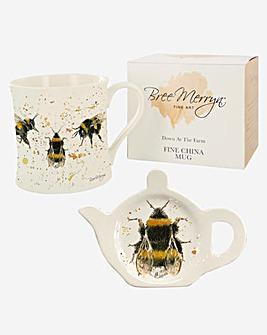 Bee Happy Mug and Tea Bag Tidy