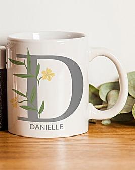 Floral Initial Mug