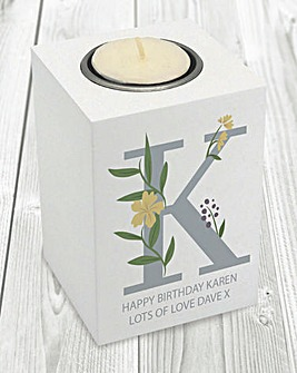 Floral Initial Wooden Tea Light Holder