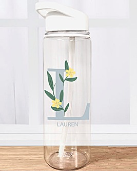 Floral Initial Water Bottle