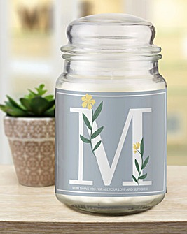 Floral Initial Candle Jar