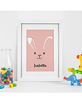 Personalised Pink Bunny Wall Art